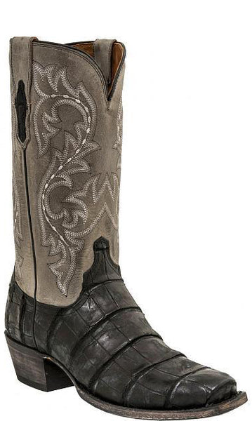 Lucchese BURKE M3196 Black Giant American Alligator Mens Boots