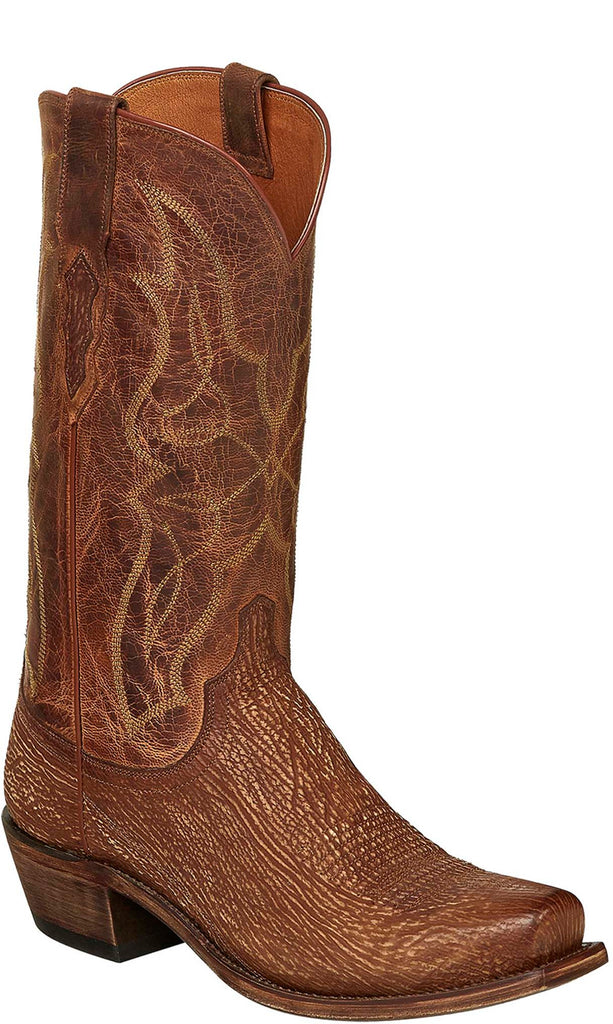 Lucchese Carl Mens Cognac Sanded Shark Cowboy Boots M3197.74