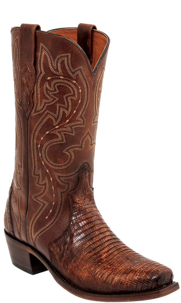 Lucchese DWIGHT M3233.74 Mens Rust Brown Teju Lizard Boots