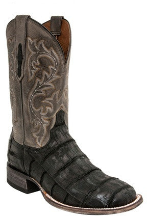 Lucchese M4345 MALCOLM Black Giant American Alligator Mens Boots