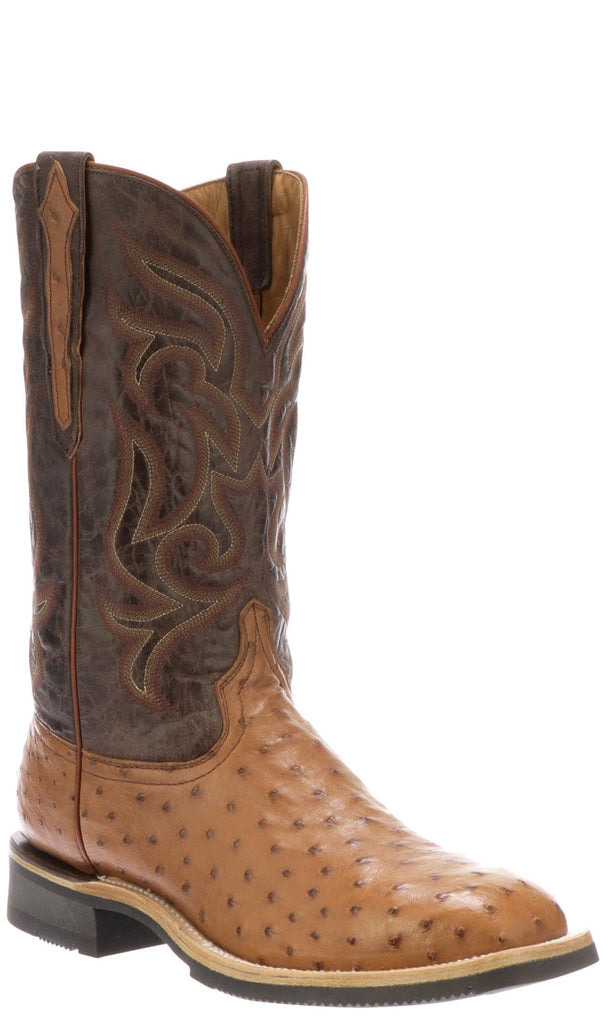 Lucchese ROWDY M4553.WF Mens Cognac Full Quill Ostrich Boots