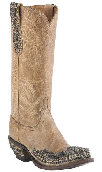 Lucchese M4602.S82F Womens Pearl Mad Dog Stud Wingtip Boots