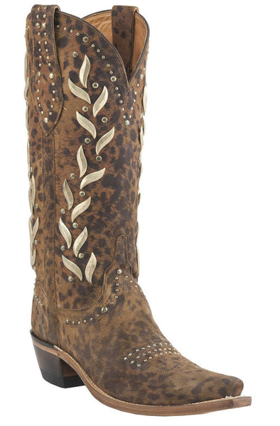 Lucchese M4622.S54 Womens Camel Cheetah Stud Boots