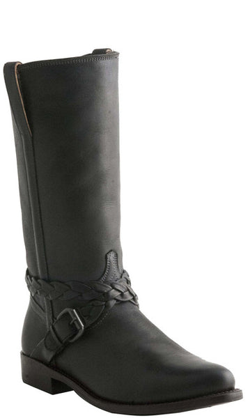 Lucchese M4641 Womens Cross Braid Buckle Black Boot