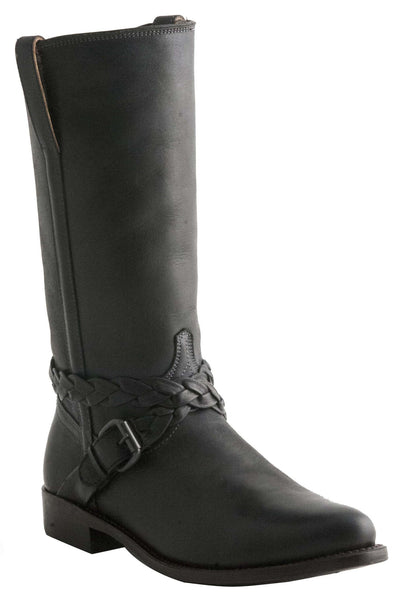 Lucchese M4641 Womens Cross Braid Buckle Black Boots