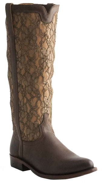 Lucchese M4643 Womens Mesh Lace Gold and Chocolate Boots