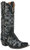 Lucchese M4717.S54 Womens Black & Silver Neomi Stitch Design Python Print Boots