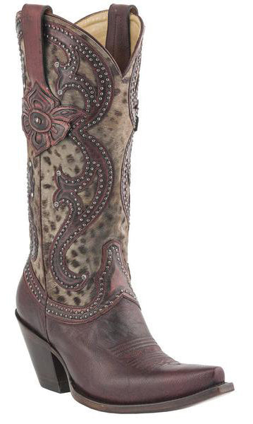 Lucchese M4802.S53F Womens Red Tooled Petal & Grey Cheetah Boots