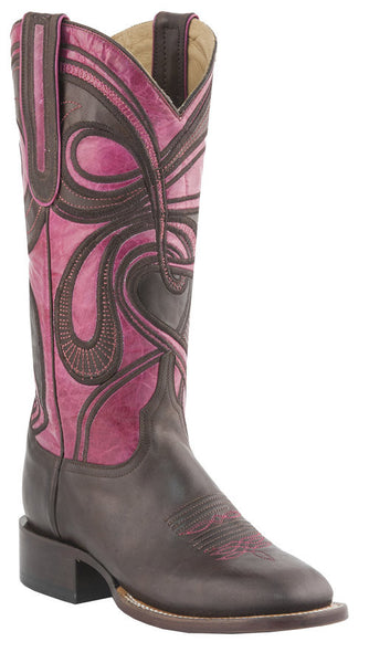 Lucchese M4831.WF Womens Espresso & Rose Hypnotic Swirl Boots