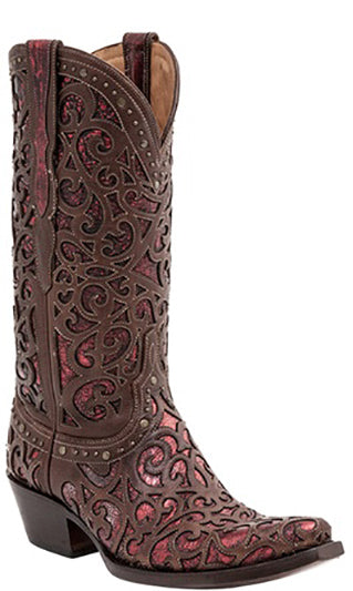 Lucchese M4840 SIERRA Womens Curly L Whiskey and Red Lasercut Boots