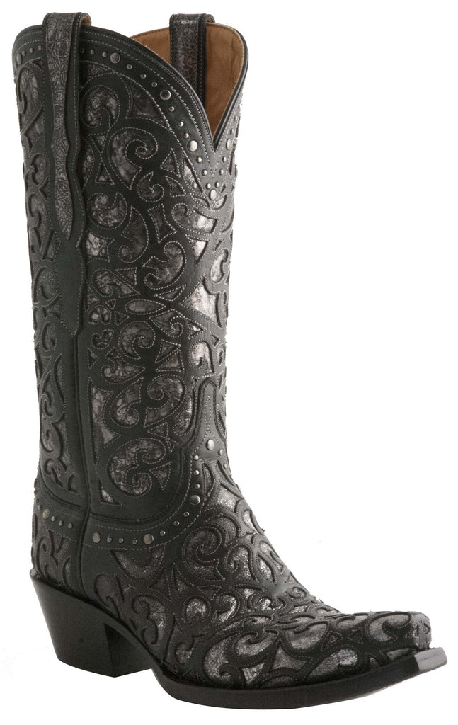 Lucchese M4842 Womens Black Curly L Lasercut Boots
