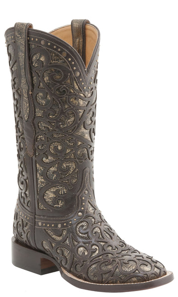 Lucchese M4843 Womens Curly L Espresso Lasered Boots