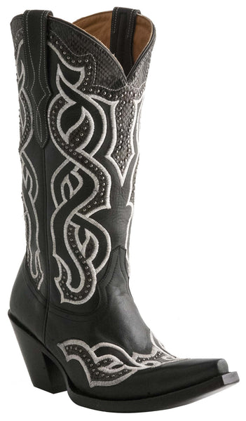 Lucchese M4845 Womens Black Boots With Embroidered Serpentine Overlay