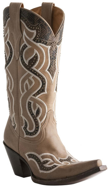 Lucchese M4847 Womens Beige Boots With Embroidered Serpentine Overlay