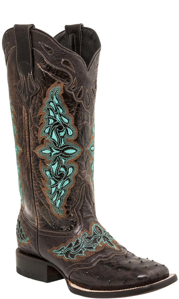 Lucchese AMBERLYN M4883.WF Womens Brown Full Quill Ostrich Boots Size 11 B STALL STOCK