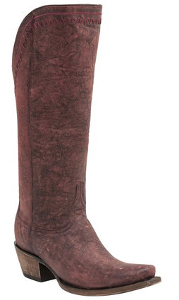 Lucchese M4909 VERA Womens Black Cherry Tall Tassel Boots