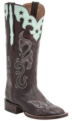 Lucchese M4912 Womens Burgundy Scallop Top Star Boots Size 8 C STALL STOCK