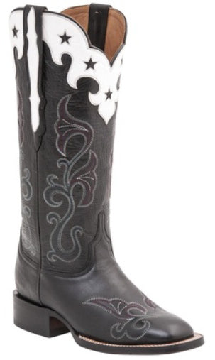 Lucchese M4913 Womens Black Scallop Top Star Boots