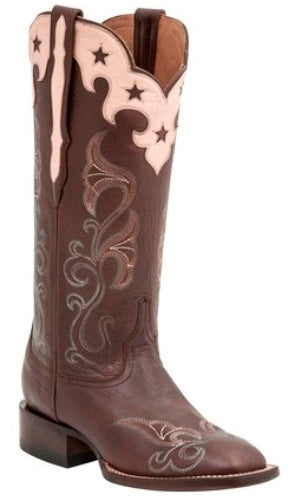 Lucchese M4914 Womens Whiskey Scallop Top Star Boots