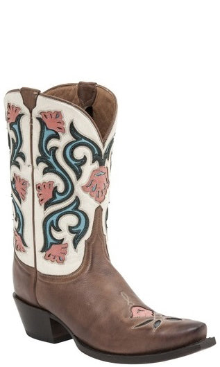 Lucchese M4920 Womens Tan Mid Shaft Flower Boots