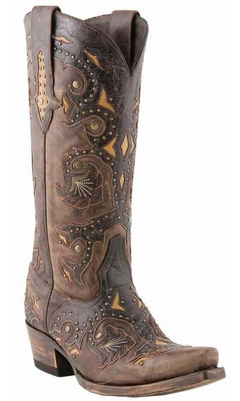 Lucchese FIONA M5015.S54 Womens Studded Scarlet Cafe Brown Calf Boots