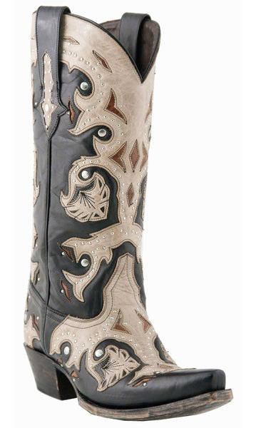 Lucchese M5016.S54 Womens Studded Scarlette Black With Natural Inlays Calf Boots
