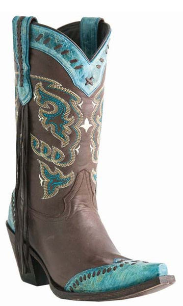Lucchese M5022.S53F Womens Chocolate Turquoise Calf Boots