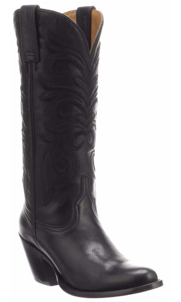 Lucchese LAURELIE M5064.H38 Womens Black Calfskin Boots Size 8 B STALL STOCK