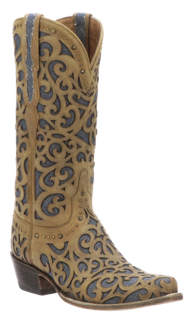 Lucchese SIERRA M5069.S54 Womens Tan Distressed Calfskin Boots