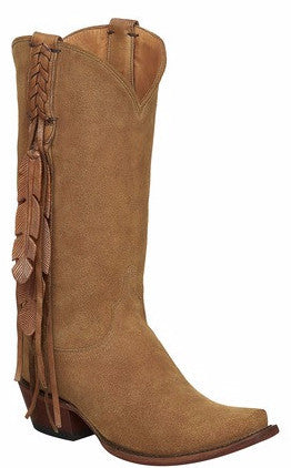 Lucchese M5104.S54 TORI Womens Light Tan Suede Fringed Boots