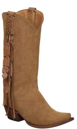 Lucchese TORI M5104.S54 Womens Light Tan Suede Fringed Boots