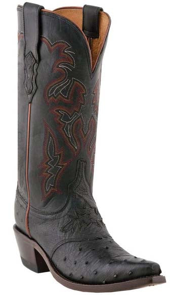 Lucchese M5602.S54 AUGUSTA Womens Black Full Quill Ostrich Boots