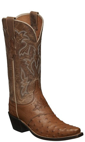 Lucchese AUGUSTA M5603.S54 Womens Tan Full Quill Ostrich Boots Size 9.5 B STALL STOCK