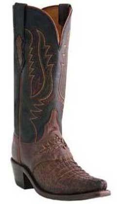 Lucchese CHRISTINA M5626.S54 Womens Sienna Burnished Hornback Caiman Crocodile Boots
