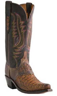 Lucchese ALYSSA M5628.S54 Womens Tan Burnished Hornback Caiman Boots Size 10 B STALL STOCK