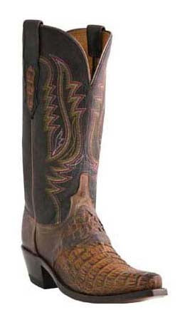 Lucchese ALYSSA M5628.S54 Womens Tan Burnished Hornback Caiman Crocodile Boots Size 10 C STALL STOCK