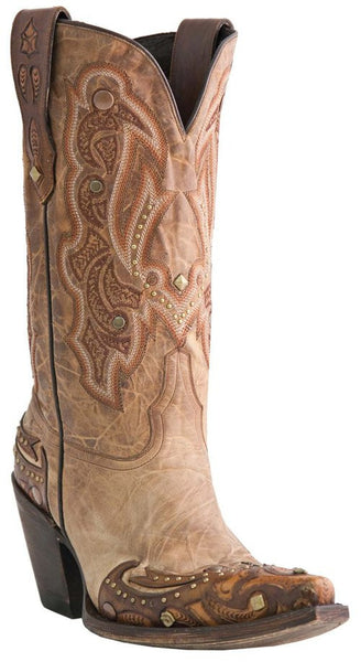 Lucchese M5705.S53F Womens Aspen Camel Calfskin Boots Size 9 C STALL STOCK