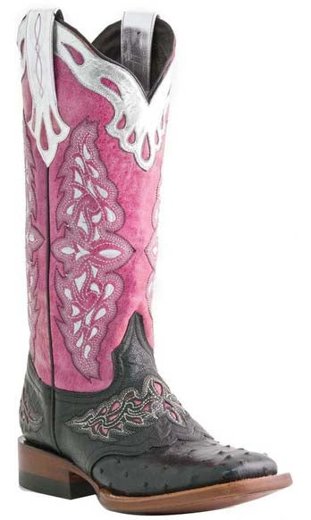 Lucchese M5800.TWF Womens Black Full Quill Ostrich With Pink Aisha Calf Boots