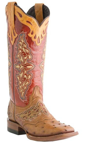 Lucchese AMBERLYN M5801.TWF AMBERLYN Womens Tan Burnished Full Quill Ostrich And Cadmio Red Spyke Calf Boots