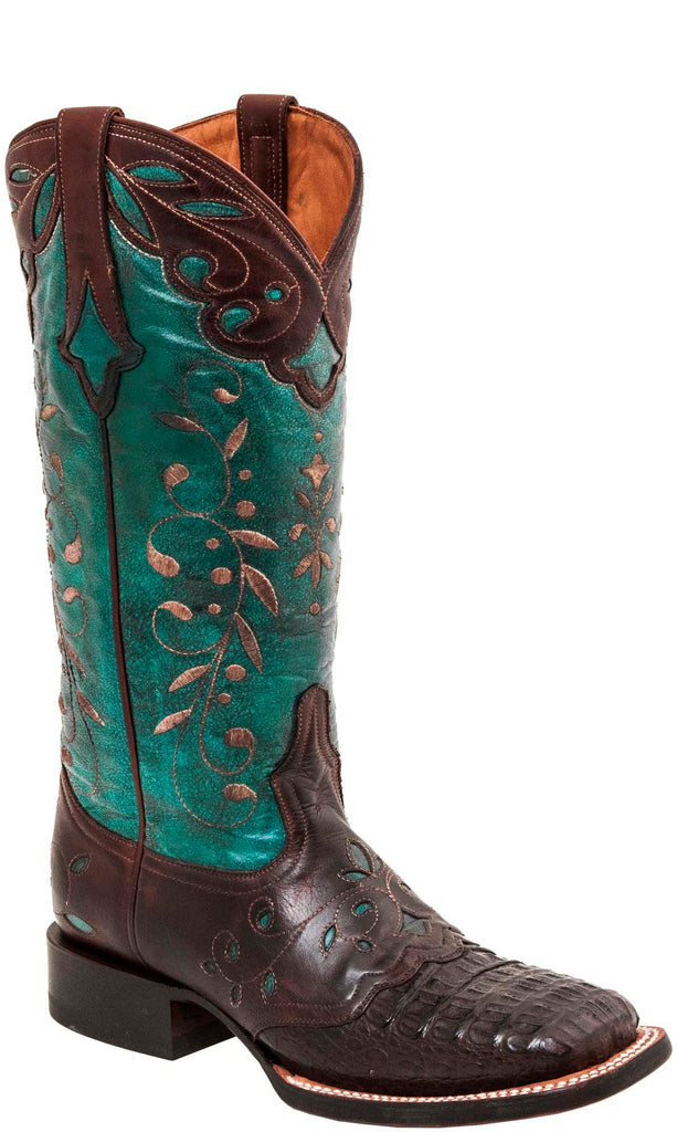 Lucchese SHERILYN M5828.WF Womens Chocolate Hornback Caiman Crocodile Boots