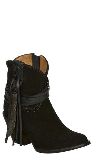 Lucchese M6000 ROBYN Womens Black Suede Shorty Fringe Boots
