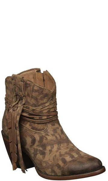 Lucchese ROBYN M6002 Womens Tan Printed Suede Shorty Boots
