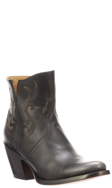 Lucchese ALONDRA M6014 Womens Black Calfskin Boots Size 9 B STALL STOCK