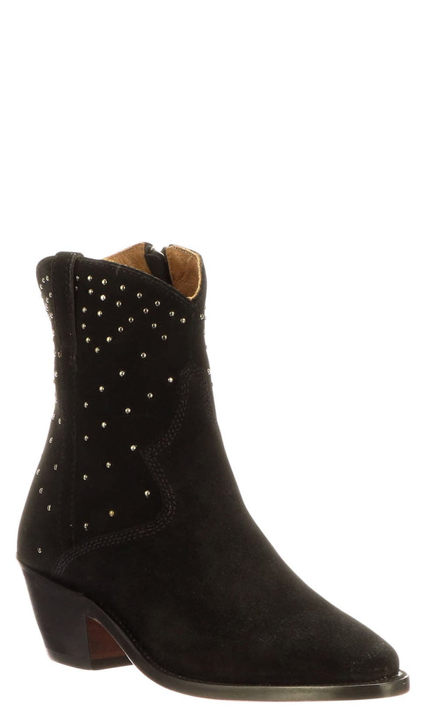 Lucchese AVIE STUD M6043 Womens Black Suede Boots