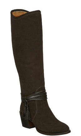 Lucchese M8506 ELLIE Womens Tall Brown Suede Equestrian Boots