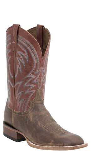 Lucchese ALAN MC2660 Mens Tan With Brick Red Fashion Color Top Crepe Sole Boots