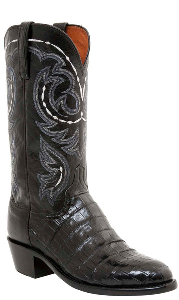 Lucchese DOUGLAS N1139 Mens Black Belly Caimain Crocodile Tail Boots