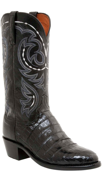 Lucchese N1139.R4 DOUGLAS Mens Black Belly Caiman Crocodile Tail Boots