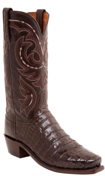 Lucchese N1140.R4 DOUGLAS Mens Chocolate Belly Caimain Crocodile Tail Boots