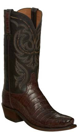 Lucchese N1142.74 DOUGLAS Mens Barrel Brown Belly Caimain Crocodile Tail Boots